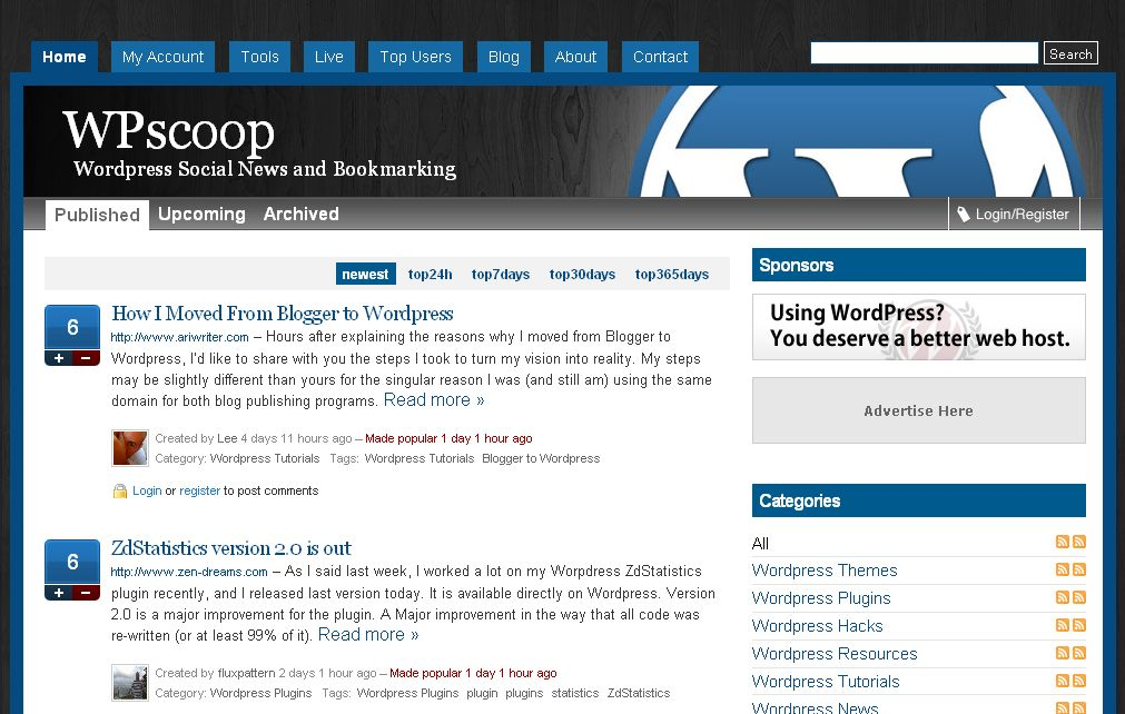 WPscoop | Wordpress Social News and Bookmarking
